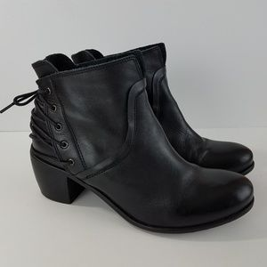 67 SixtySeven Brand Ankle Booties Black Leather
